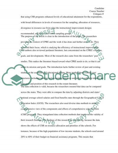 Article Critique: The Cost of Instructional Improvement essay example
