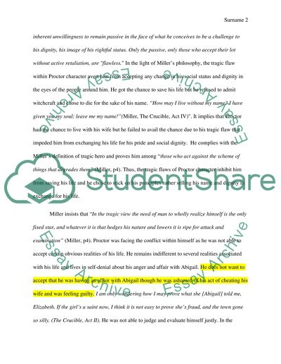 Essay Paper A Literary Essay On John Procotor As A Tragic Hero Using Arthur Millers  Tragedy And The Essay Reflection Paper Examples also High School Personal Statement Sample Essays A Literary Essay On John Procotor As A Tragic Hero Using Arthur How To Write A Business Essay