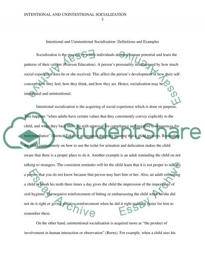 Intentional Unintentional Socialization Essay Example Topics And
