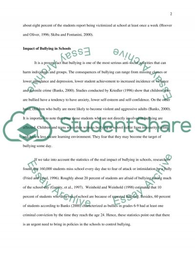 Bullying in Schools Essay example