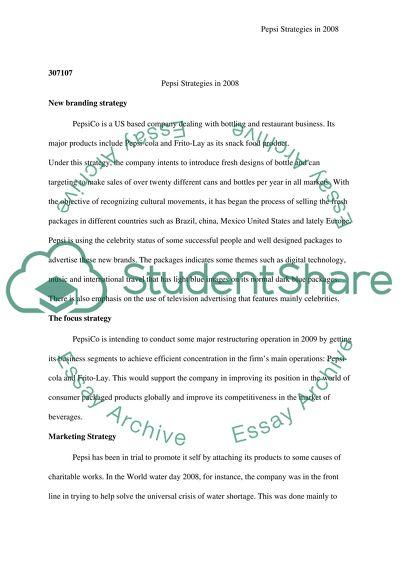 Pepsi Strategies in 2008 Case Study Example | Topics and
