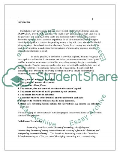 Financial Accounting principles essay example