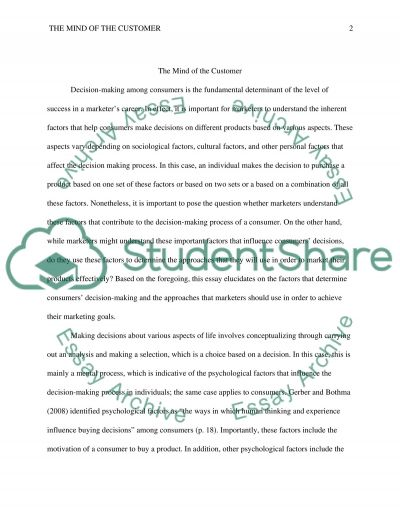 The mind of the customer essay example