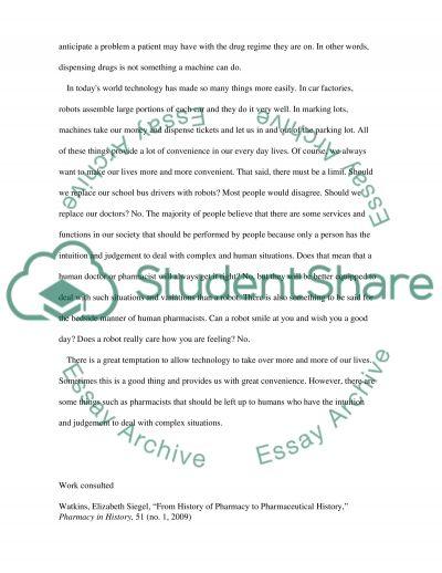 Pharmacy & Technology essay example