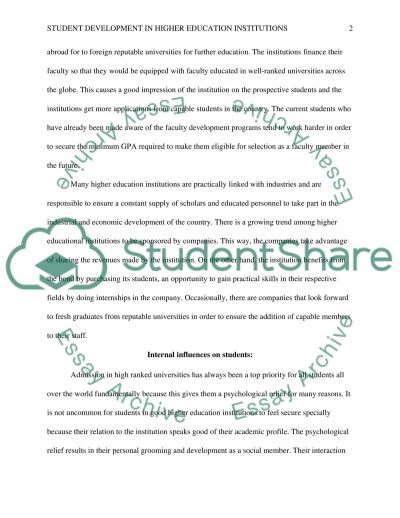 Student development in higher education essay example