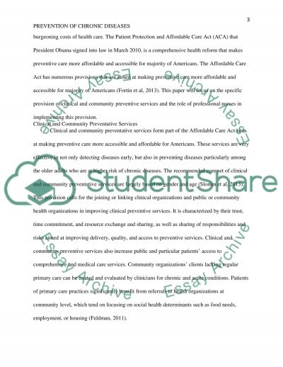 Prevention of Chronic Diseases in the USA essay example