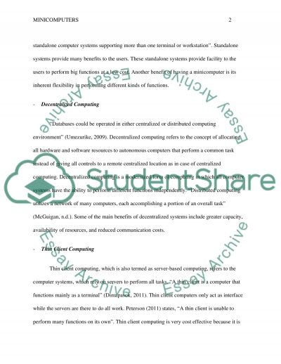 Historical Information for Minicomputer essay example