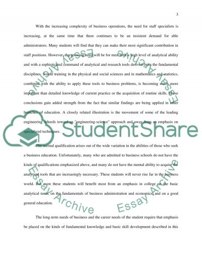 Businss Education essay example
