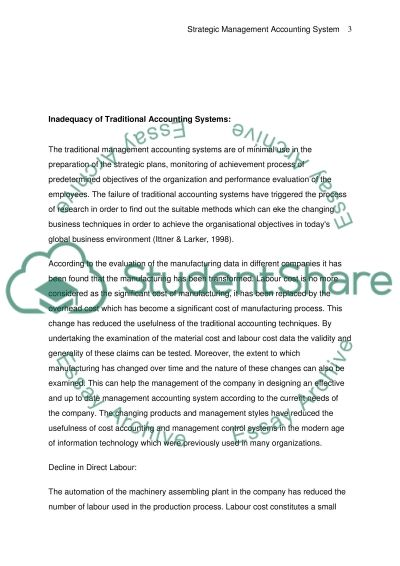 Strategic Management Accounting System essay example