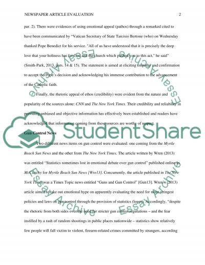 Newspaper Article Evaluation And Gun Control News Essay Newspaper Article Evaluation And Gun Control News Essay Example