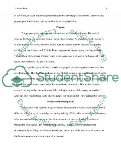 Student Plan essay example