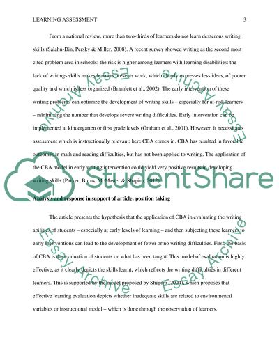 Articles on Learning Assessment