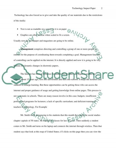 Technology Impact Paper essay example