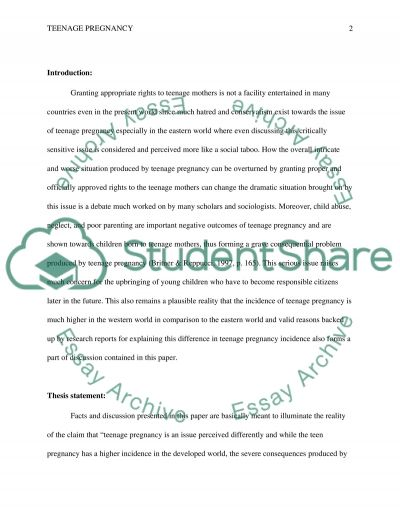 Teenage pregnancy and its consequences essay example