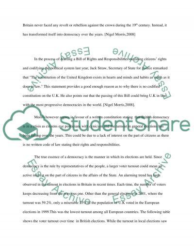British Constitution College Essay essay example