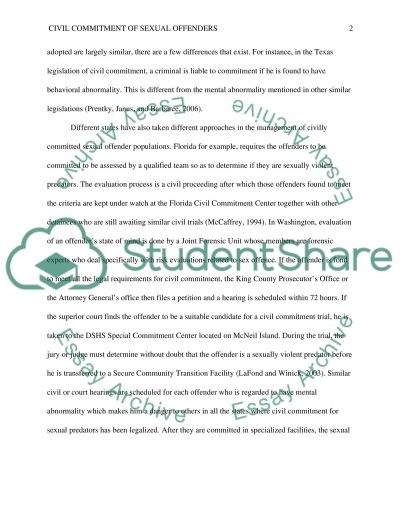 Civil Committment of Sexual Offenders essay example