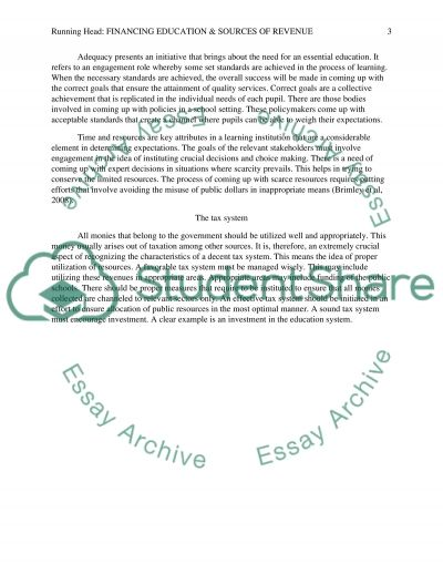Financing Education Equitably & Sources of Revenue essay example