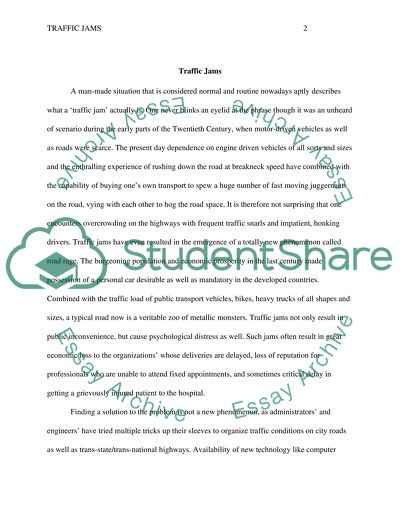 Talk about traffic jam Essay Example | Topics and Well Written ...