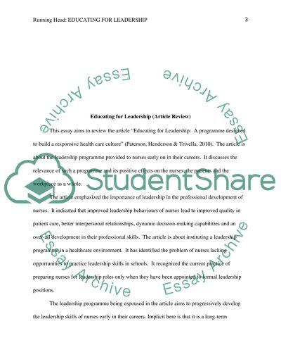 Educating for Leadership