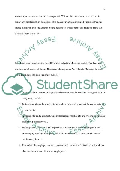Human resource management: effective management essay example