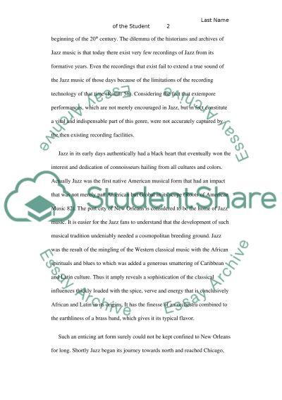 Jazz Music Essay essay example