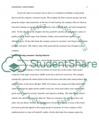Goodwill Industries : Marketing to a variety of customer types essay example
