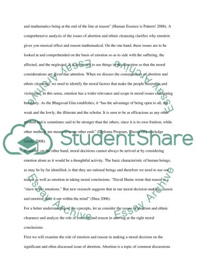 Are reason and emotion equally necessary in justifying moral decisions Theory of Knowledge Essay essay example