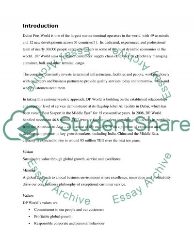 Dubai Port World Research Paper example