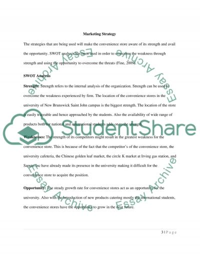 University Convenience Store essay example