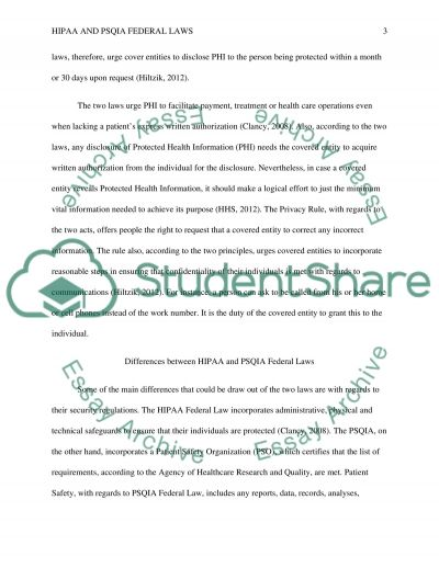 Compare and Contrast HIPPA and PSQLA federal laws essay example