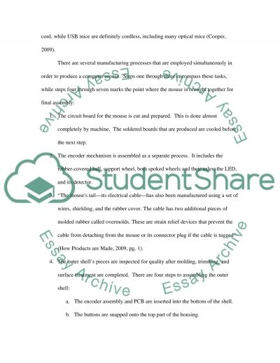 Manufacturing Computer Mouse Essay example