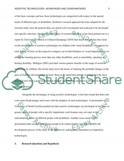Assistive Technology: Advantages and Disadvantages essay example