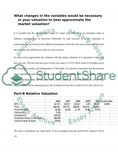 What changes in the variables would be necessary in your valuation to best approximate the market valuation essay example