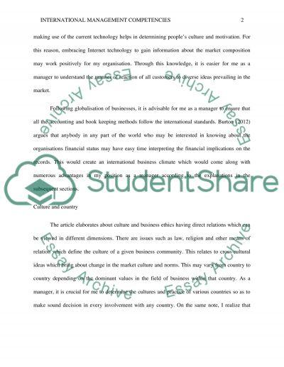 International Management Competencies essay example
