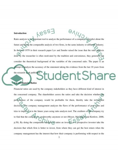 Methodological issues with financial ratios Essay example