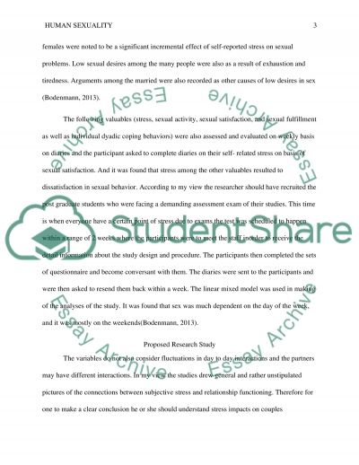 Human sexuality essay example