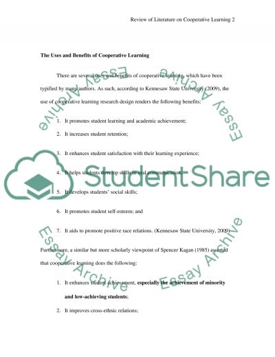 Cooperative Learning Essay example