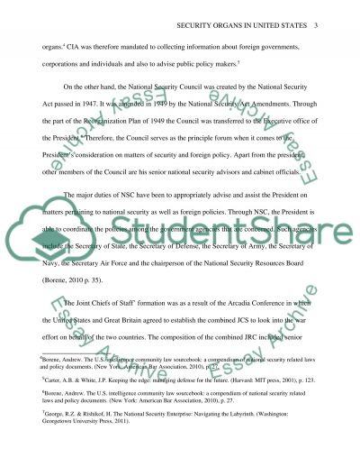 Security organs in the United States of America essay example