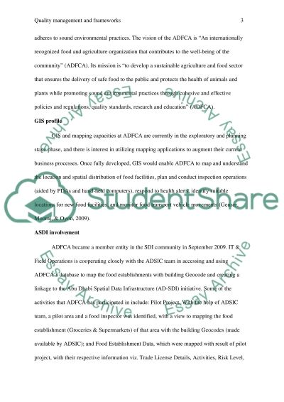 quality management and frameworks Essay example
