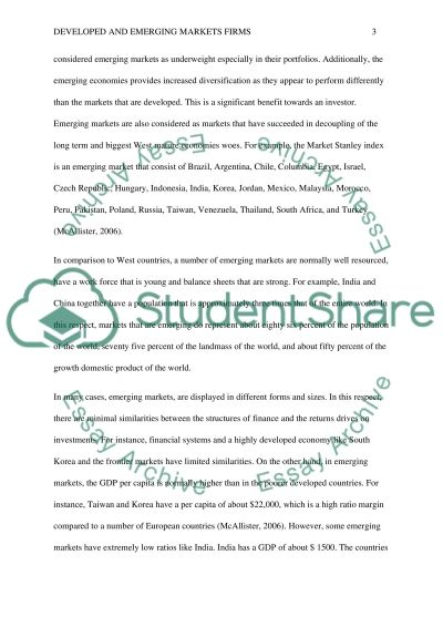 Developed and emerging markets firm essay example