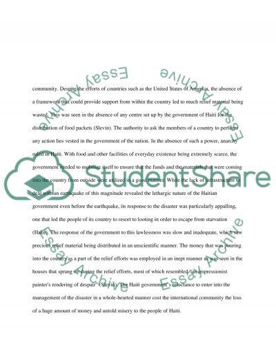 Relief Efforts Following the Haiti Earthquake and Its Failures essay example