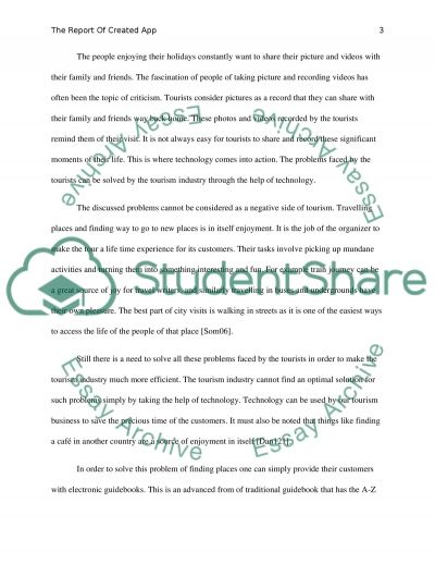 The Report of created app essay example