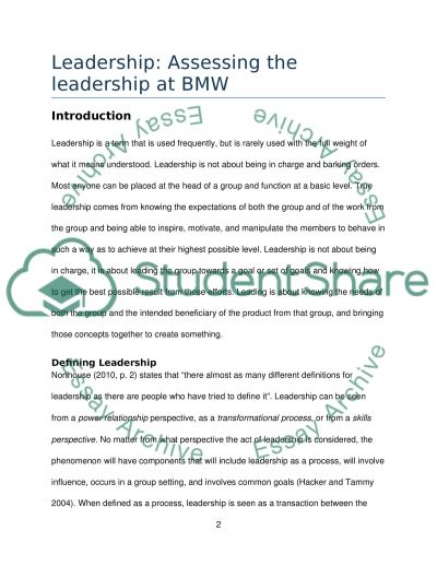 Leadership: Assessing the leadership at BMW Essay example