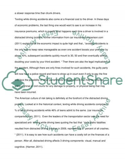 In Support of the Distracted Driving Bill essay example