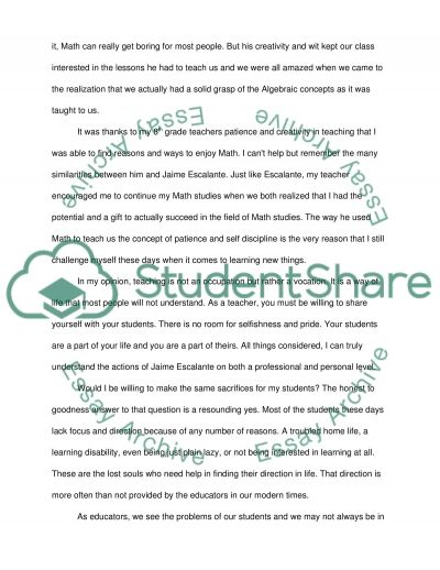 Stand and Deliver: Becoming a Teacher essay example