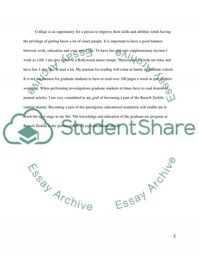 Baruch Zicklin School of Business essay example