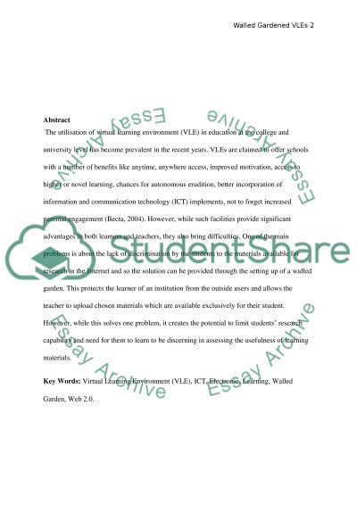 Virtual Learning Environments essay example