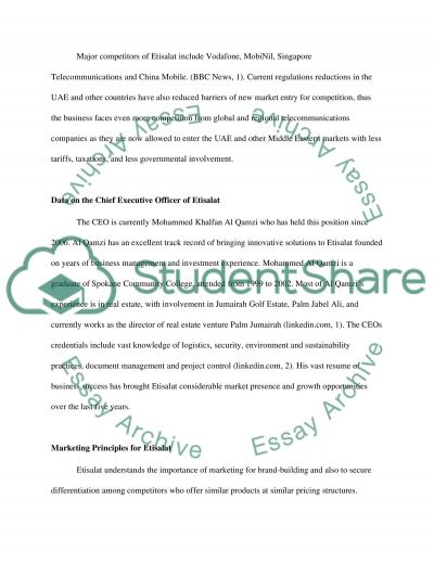 The Pricing Strategies and Programs of Etisalat essay example
