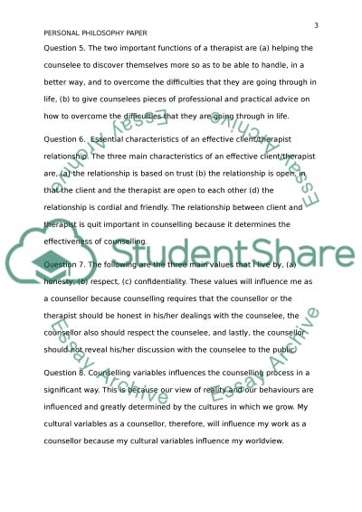 Personal Philosophy Paper essay example