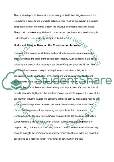 State of the UK construction industry essay example
